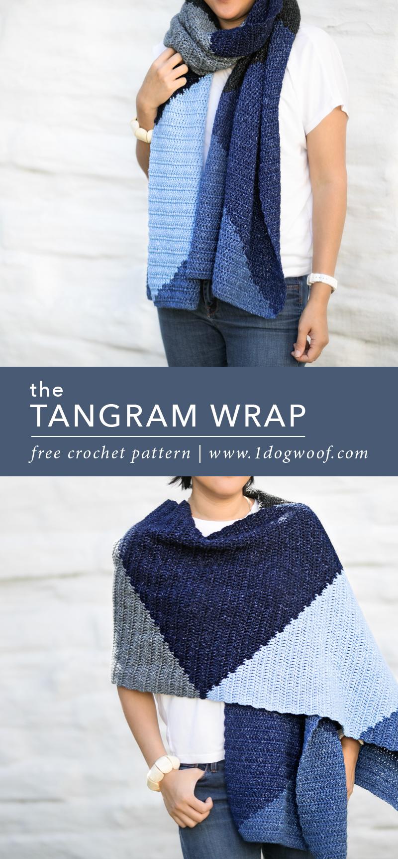 The Tangram Wrap A Modern Crochet Scarf Wrap One Dog Woof