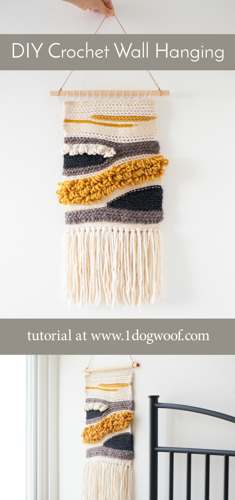 Make your own crochet wall hanging as a fun creative project! Also great for using up those leftover bits of yarn! | www.1dogwoof.com