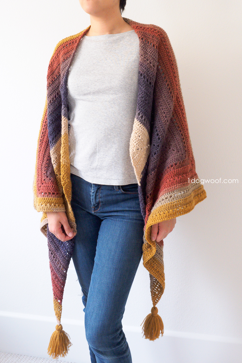 Wear the Adirondack Wrap as a shawl.