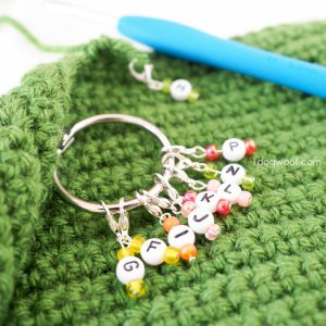 close-up of colorful crochet size markers on a binder ring