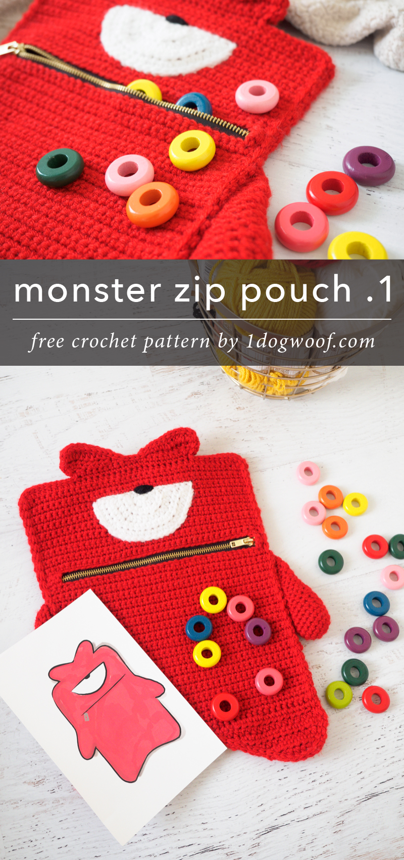 Kelvin the red monster zip pouch as a fun gift for kids!