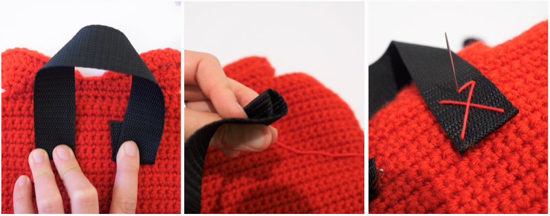 How to attach straps to a crochet pouch.