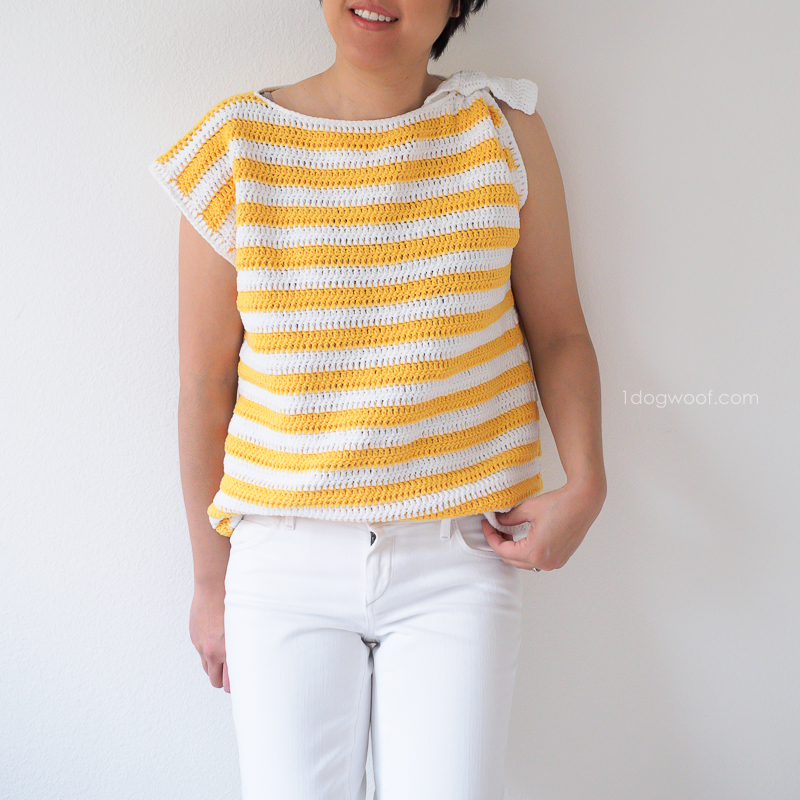 Monterey Bay striped top with shoulder knot