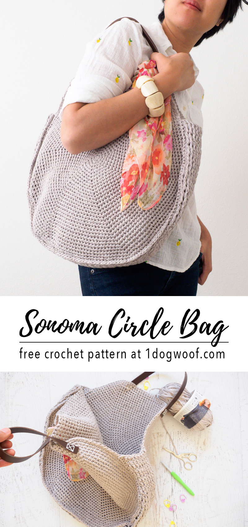 Sonoma Circle Bag Crochet Pattern One Dog Woof