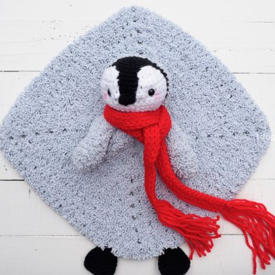 Baby Penguin Crochet Lovey Security Blanket