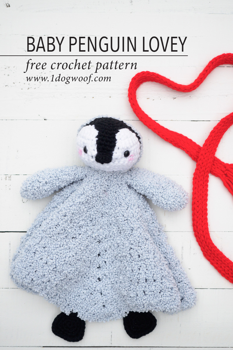 Baby Penguin Crochet Lovey Security Blanket One Dog Woof