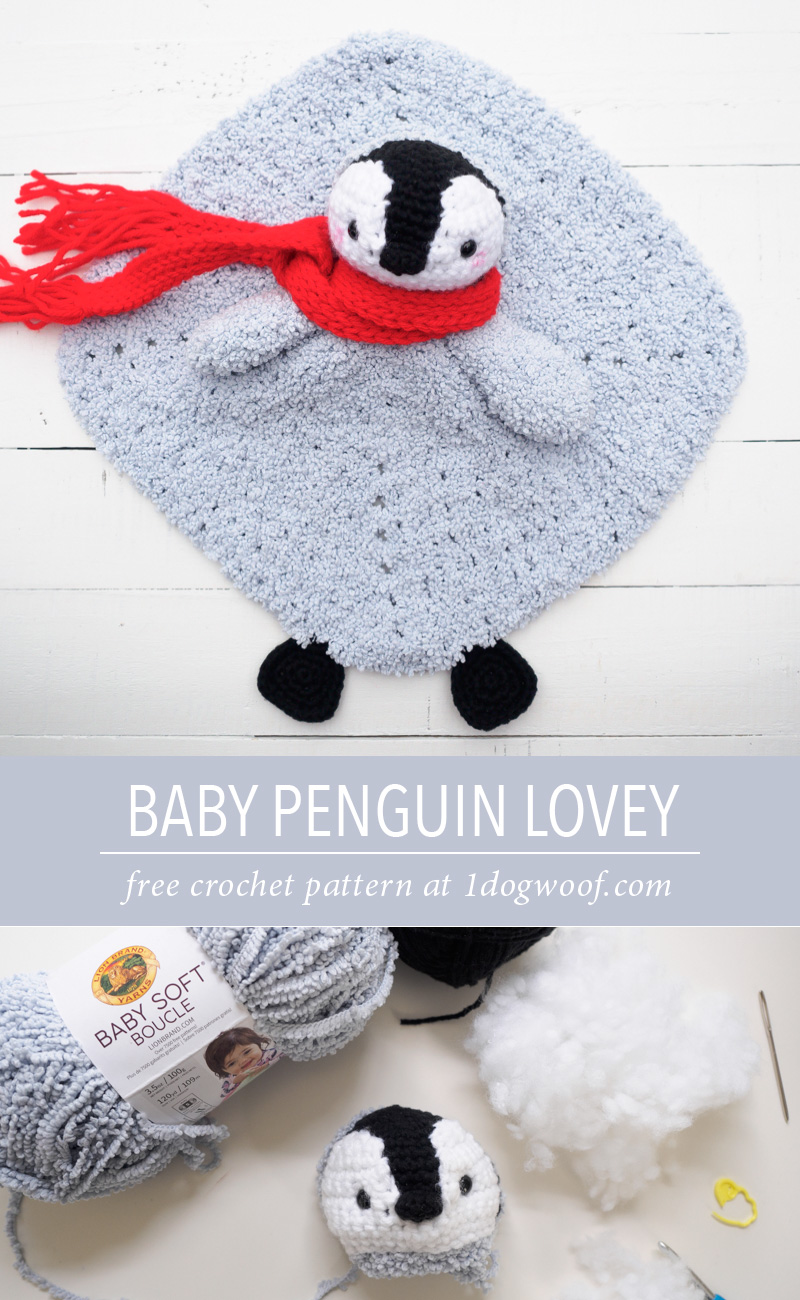 baby penguin crochet lovey pin