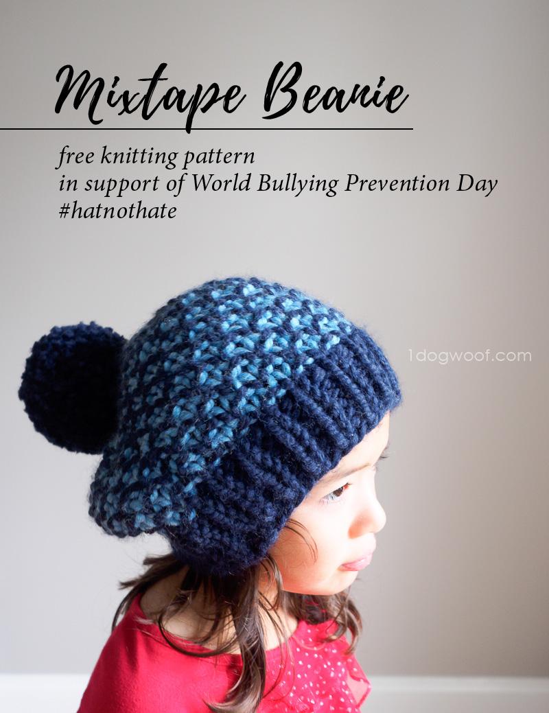Mixtape Beanie  Free Knit Hat Pattern - One Dog Woof fc931f276a5b