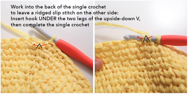 Work single crochet behind waistcoat stitch.