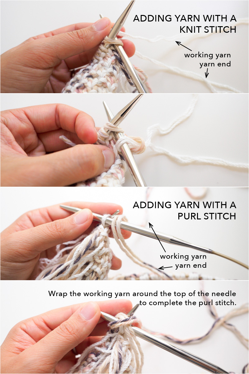 How to start new yarn, knit vs purl