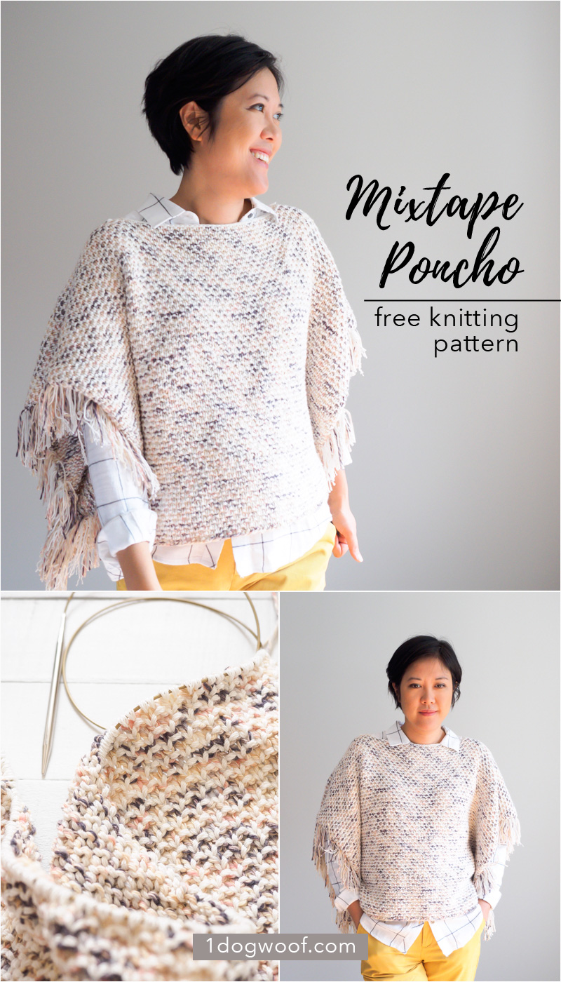Mixtape Poncho Knitting Pattern | www.1dogwoof.com