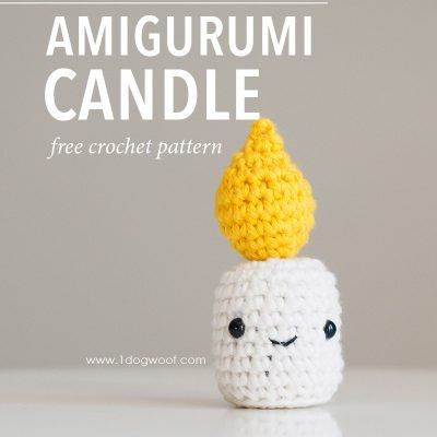 candle amigurumi pin