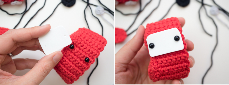 attaching eyes to amigurumi car