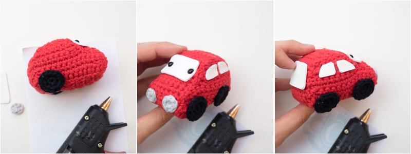 attaching details to amigurumi car