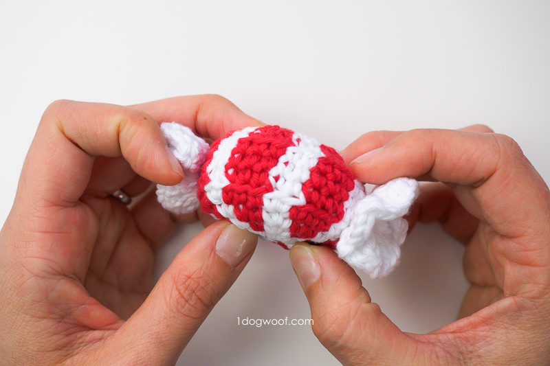 Side of amigurumi peppermint