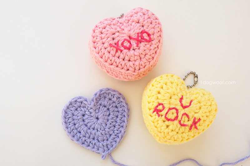 heart applique and candy heart keychains