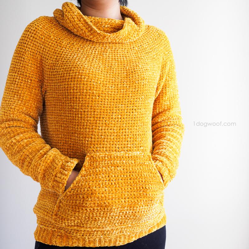9f9be0eeb Mysa Velvet Sweatshirt Sweater Crochet Pattern - One Dog Woof