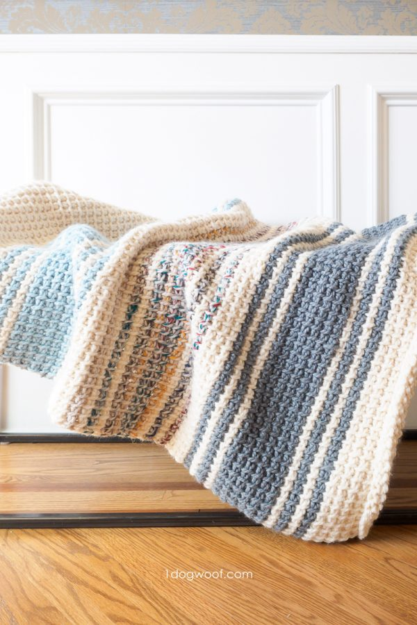 Daydream: a simple striped Tunisian crochet blanket