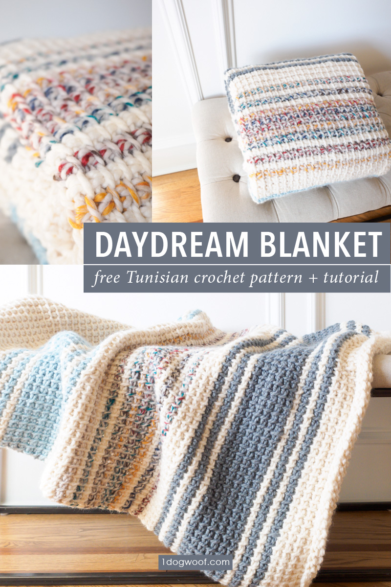 Daydream A Simple Striped Tunisian Crochet Blanket One Dog Woof