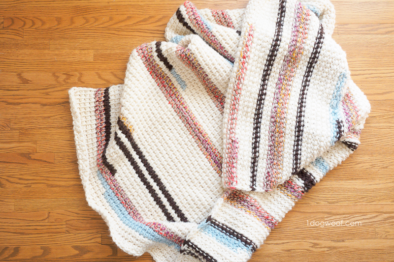 Sunset Stripes Blanket Tunisian crochet pattern on the front and back
