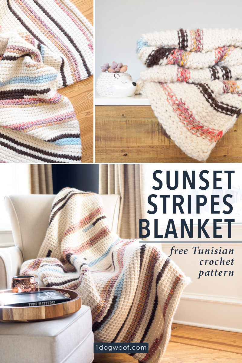 Sunset Stripes Tunisian crochet blanket