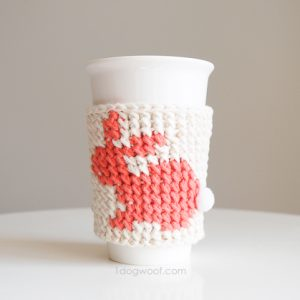 bunny cup cozy on table