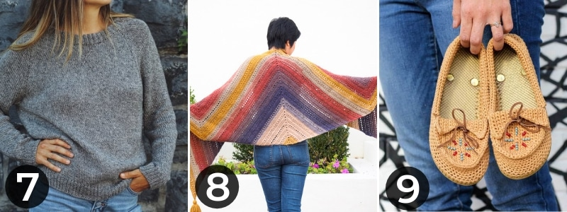 pullover sweater and shawl and crochet moccasins