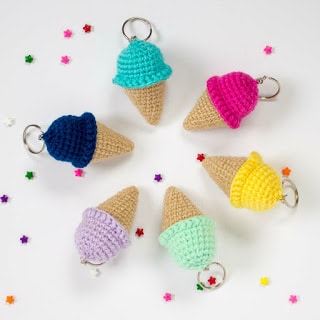 crochet ice cream keychains