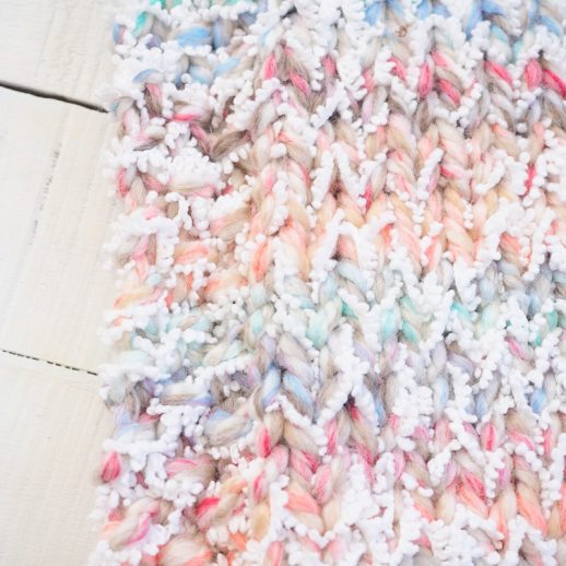 closeup of Snowcone Blanket stitches
