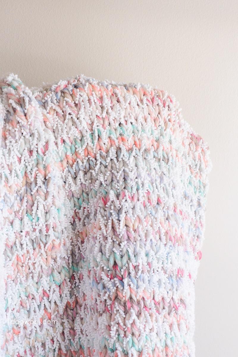showing drape of Snowcone Blanket