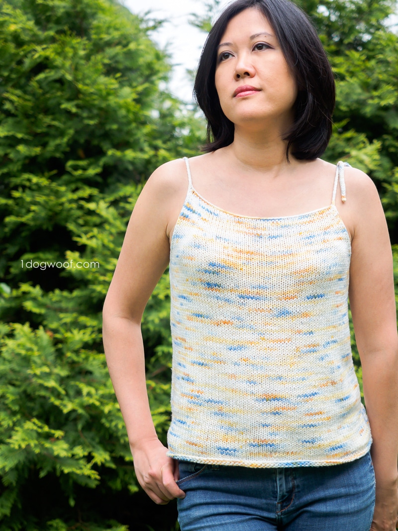 Solstice Tie-Shoulder Tank with leafy green background