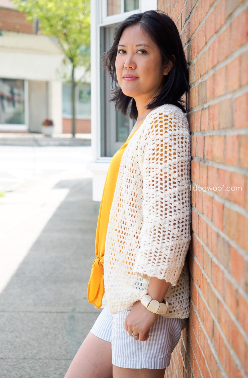 easy diamond motif in a modern crochet cardigan