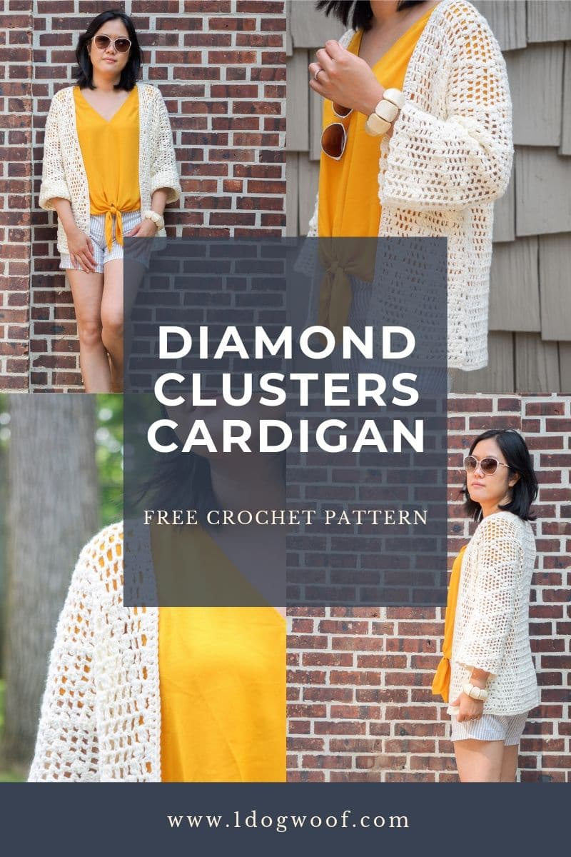 diamond clusters crochet cardigan pin image