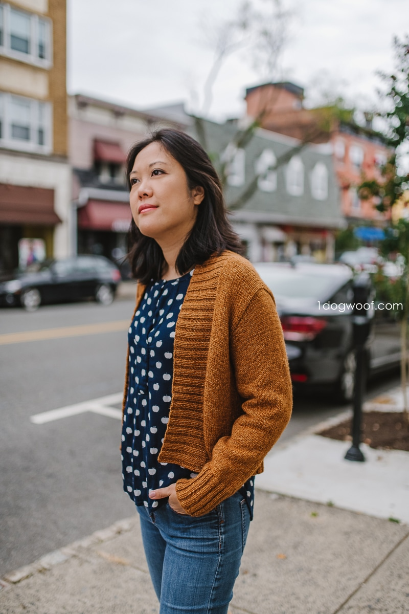 light fall cardigan on city streets