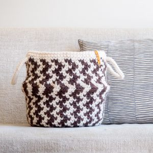 striped belly basket on couch