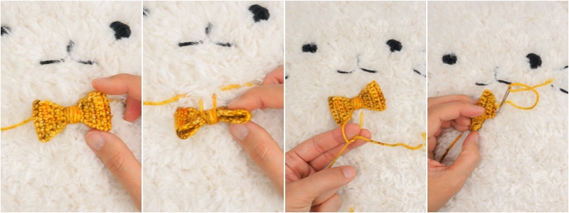 attaching bowtie to stuffed toy