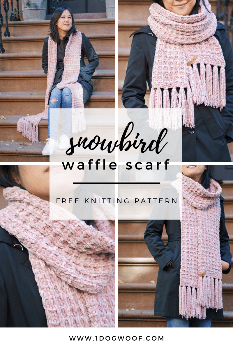 waffle knit scarf collage