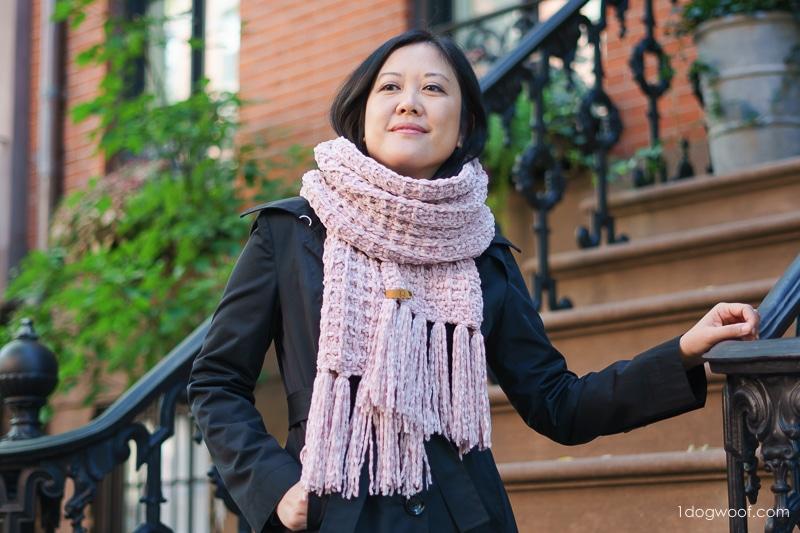 waffle-knit scarf wrapped twice around neck