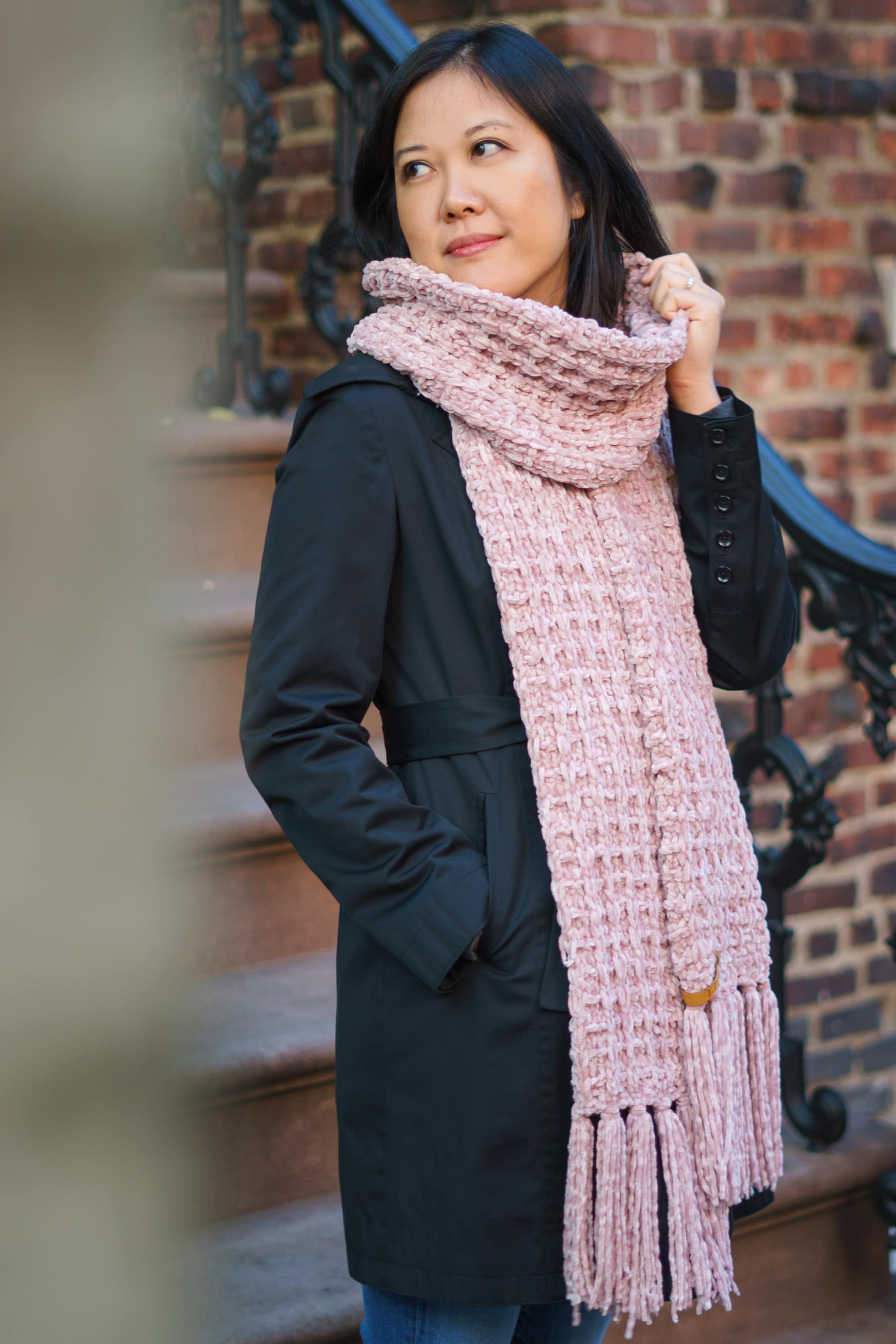 waffle-knit super scarf wrapped once around neck