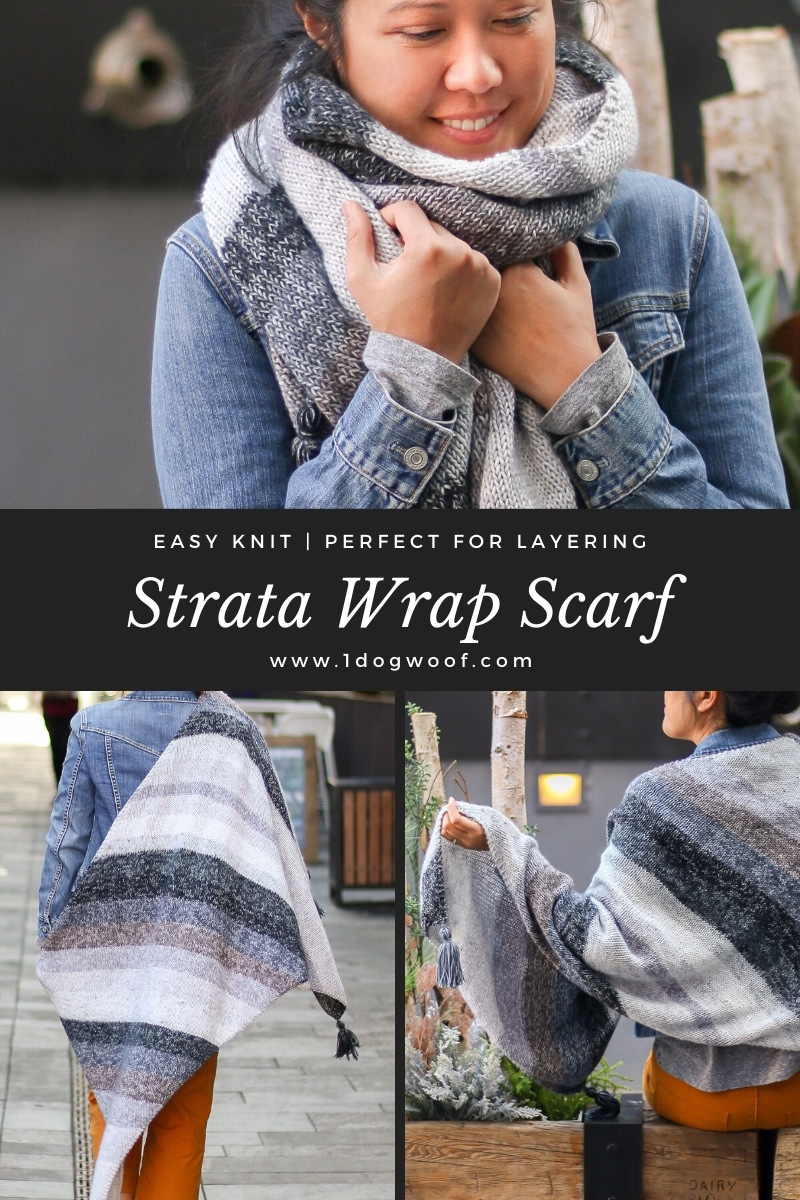 Strata Bias Knit Wrap as a scarf vertical image