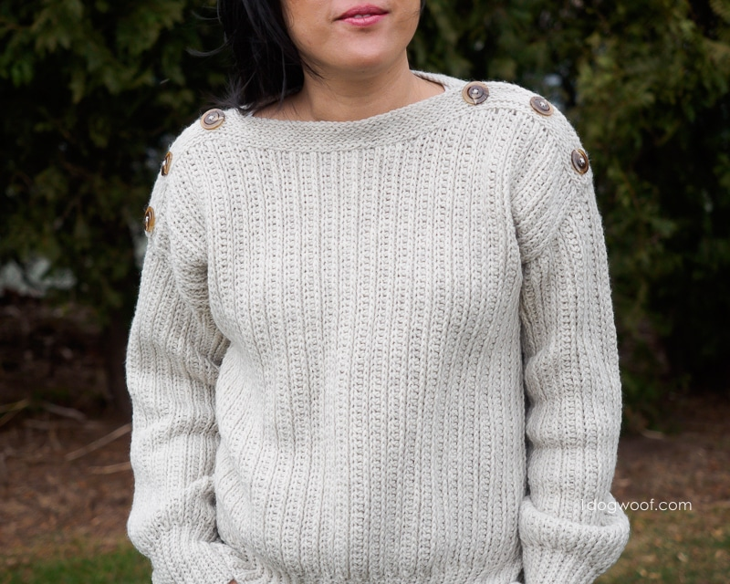 High Line Sweater with button shoulder accents