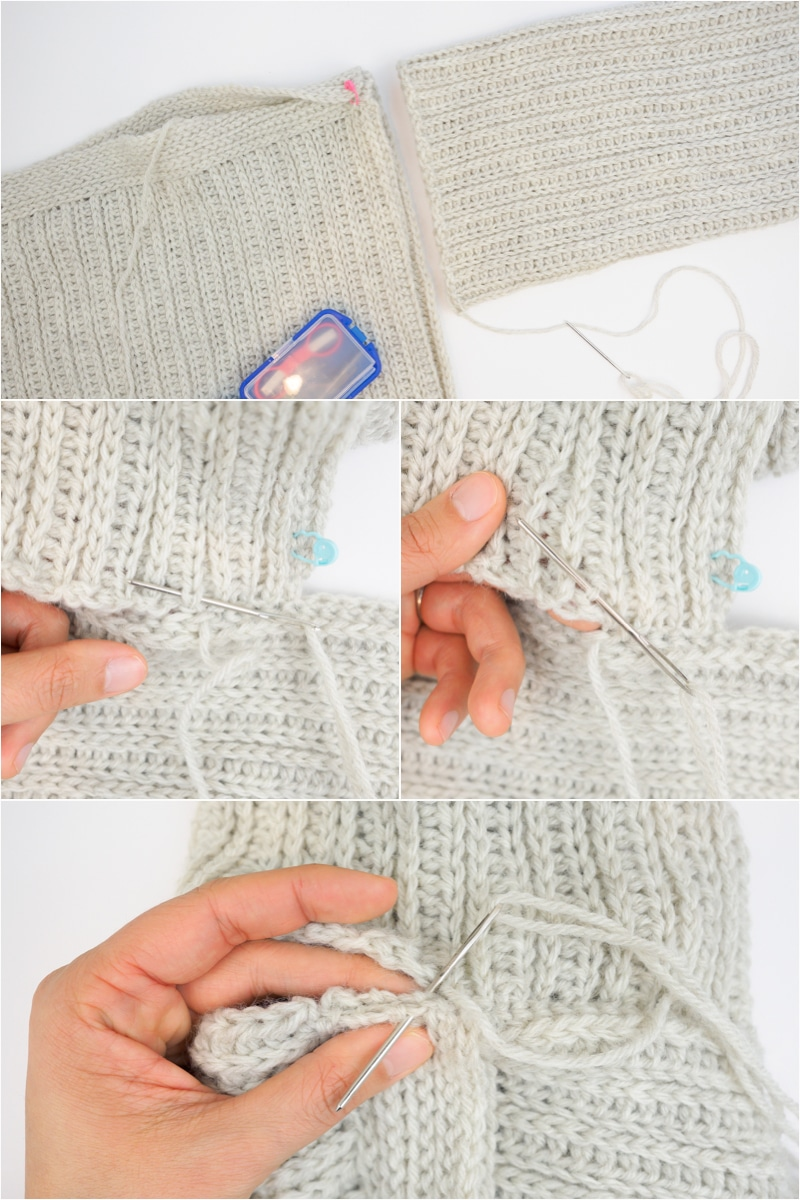 sewing up the high line sweater armhole