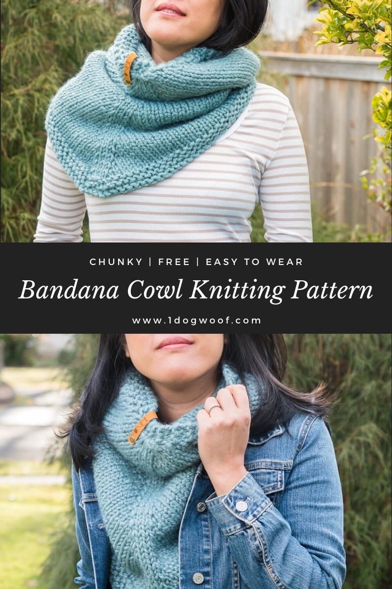 bandana cowl knitting pattern 2 photo collage