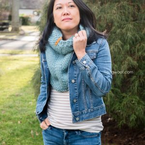 green-blue triangle shawl cowl with jean jacket