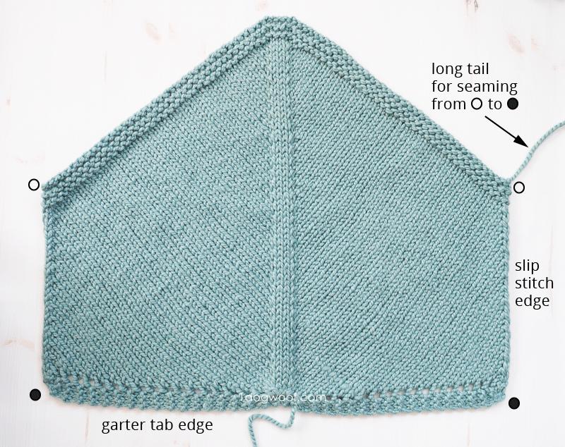 knit bandana cowl pentagon laid flat