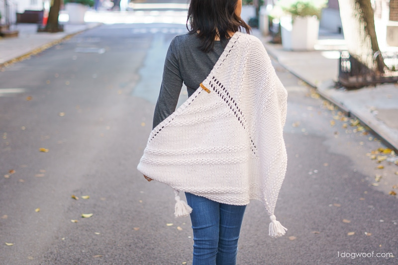 back view of Cider triangle shawl