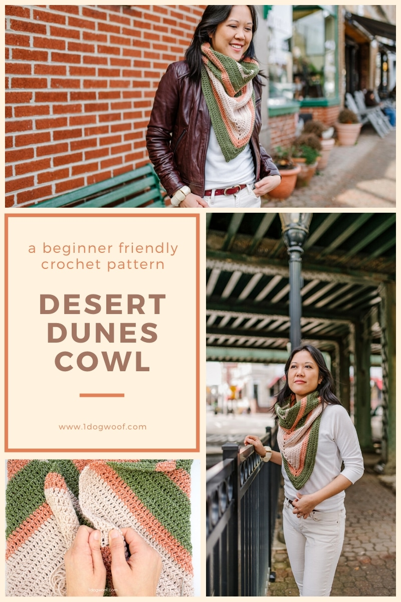 three photo collage of Desert Dunes crochet cowl pattern