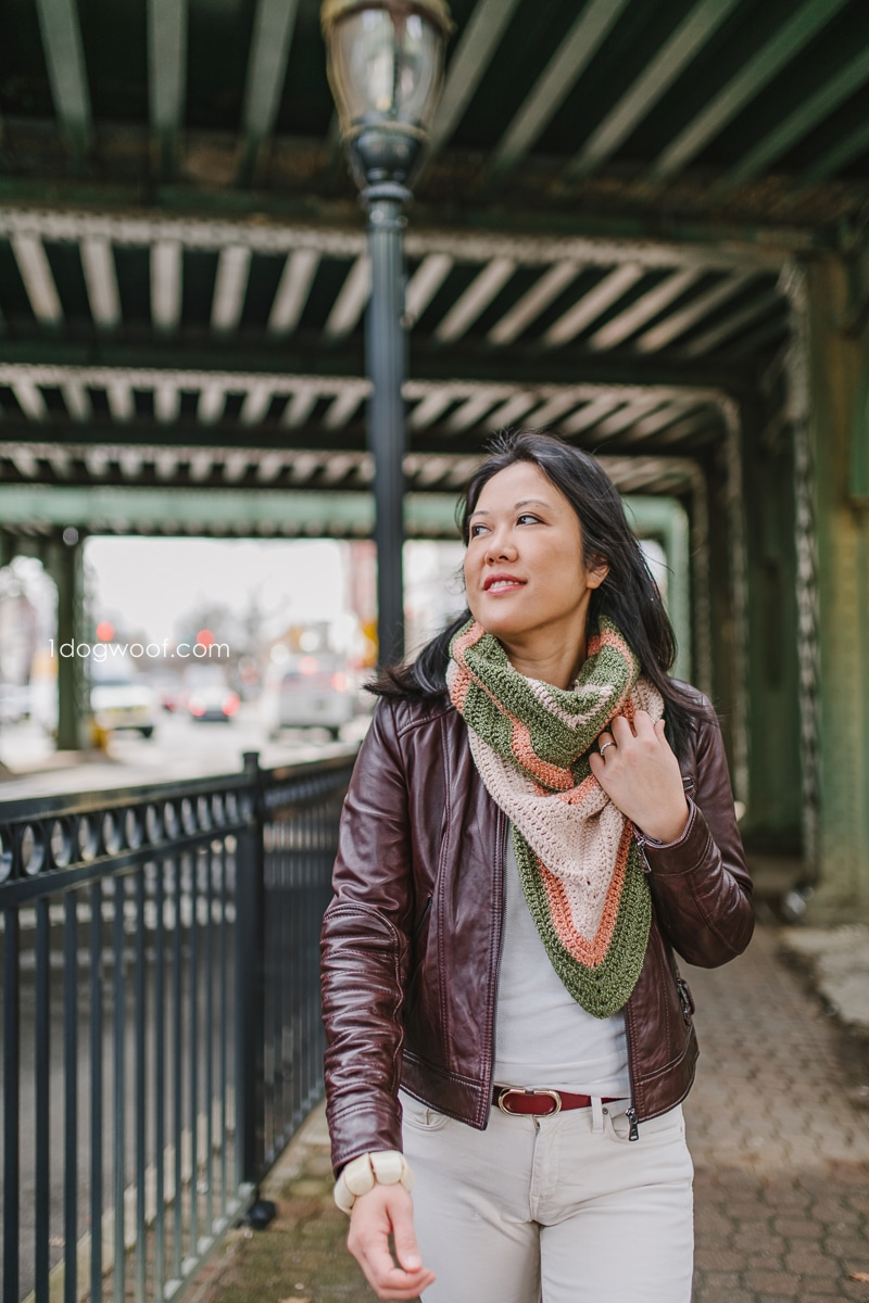 Wearing crochet cowl with leather jacket