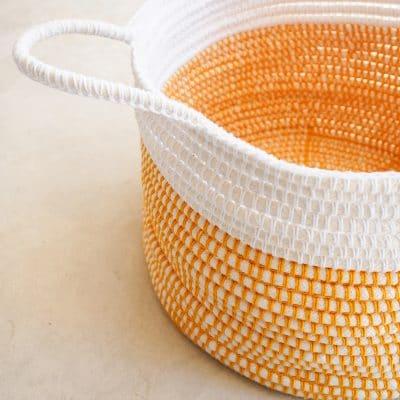 customizable handles on crochet basket