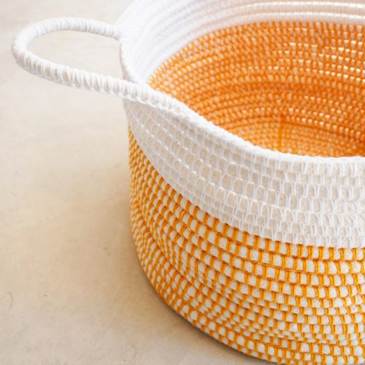 customizable handles on crochet basket